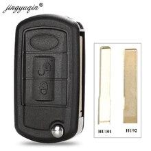 Jingyuqin 10pcs Flip מרחוק מפתח Shell Case Fob 3 לחצן עבור לנד רובר ריינג רובר ספורט LR3 Freelander Evoque גילוי ספורט