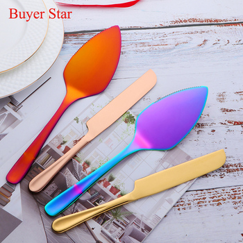 2PCS/Set Cake Shovel Cutter Stainless Steel Cheese Pizza Pie Pastry Spatulas with Server Gold Bread Knife Baking Cooking Tools