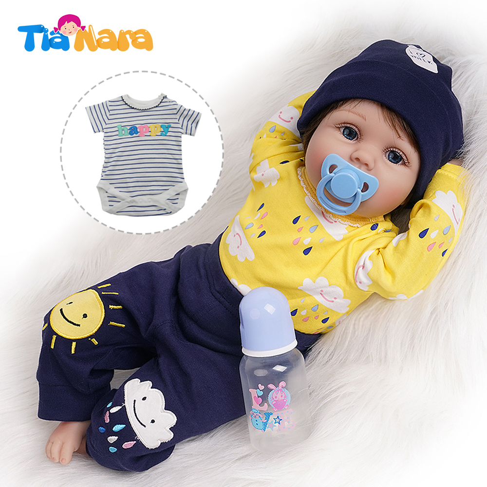 55cm Reborn Doll Newborn Boy Yellow Outfit Gift For Girl Baby Soft Toys