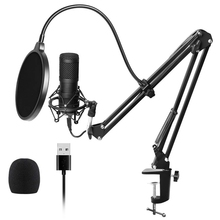 Usb Streaming Podcast Pc Microphone Professional Studio Cardioid Condenser Mic Kit with Sound Card Boom Arm Shock Mount Filter, neewer nw 7000 usb condenser microphone kit for windows and mac with metal microphone shock mount ball type anti wind foam cap