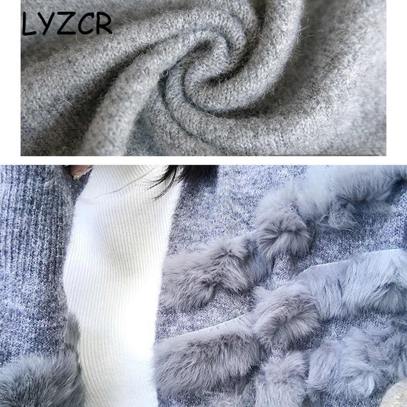 Вязаный женский кардиган, зимняя куртка, теплый толстый женский кардиган, длинный кардиган с кроликом, женский свободный кашемировый свитер, кардиганы