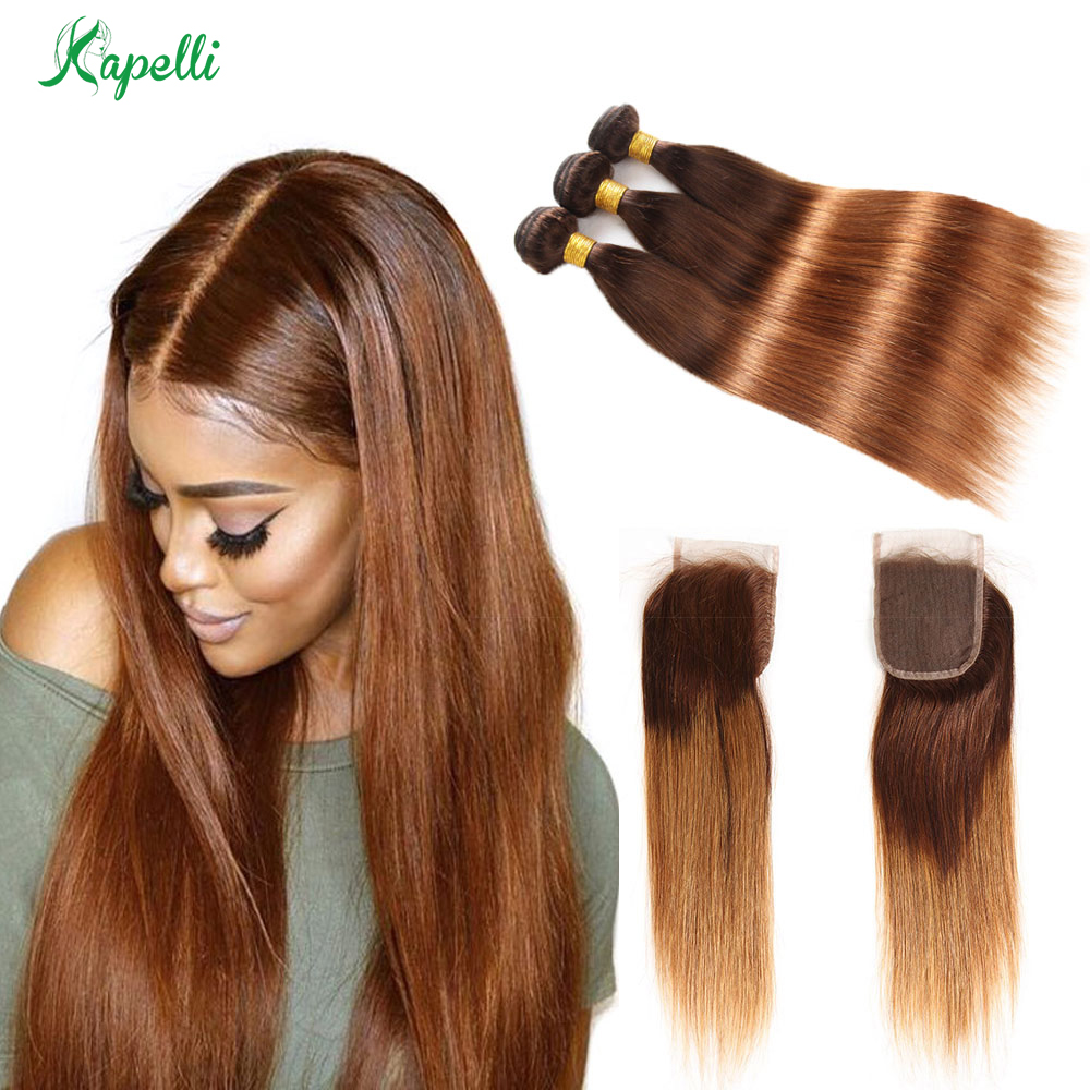 Ombre 3/4 Bundles Bundles With Closure Brazilian Straight Human Hair Bundles With Closure T4/30 Non-Remy Hair Weave Extensions