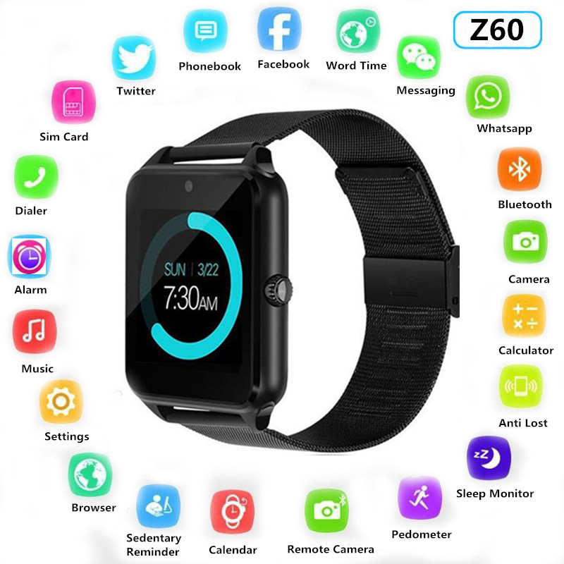 Z60 Smart Watch Plus Metal Clock With Sim Card Slot Push Message Bluetooth Connectivity Android IOS Phone Smartwatch