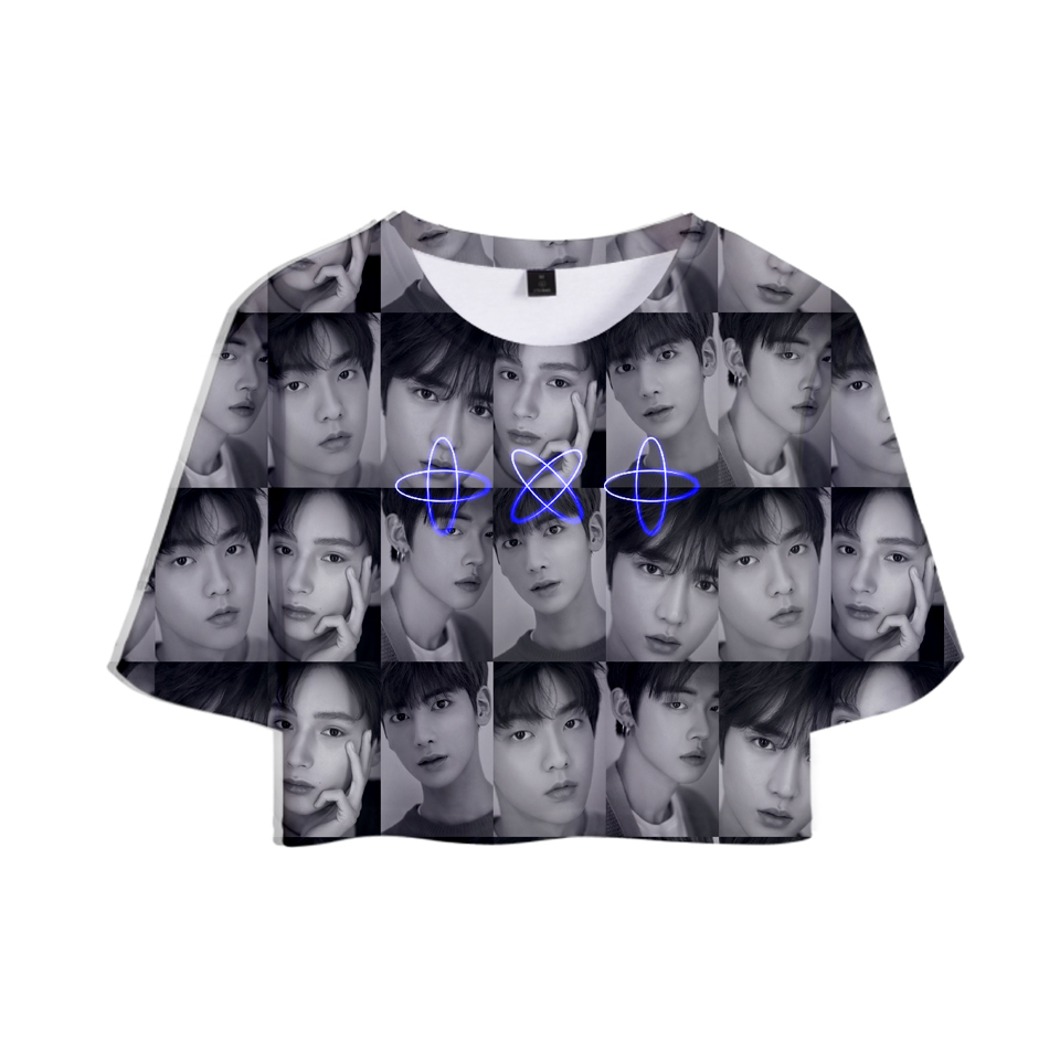KPOP Tomorrow X Together 3D <font><b>Sexy</b></font> <font><b>Belly</b></font> Short Sleeve T <font><b>shirt</b></font> New Style TXT T-<font><b>shirt</b></font> Women Fashion Casual Korea Fan Tshirt Clothes image