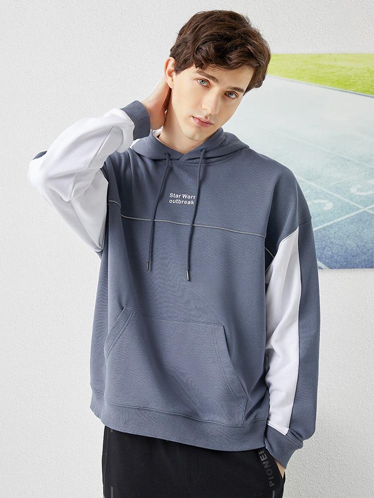 Image 2 - Pioneer Camp 2020 Spring Hoodies Men Streetwear Gray White Hit Color Cotton Causal Hooded Sweatshirts Mens ALY0105076Hoodies & Sweatshirts   -
