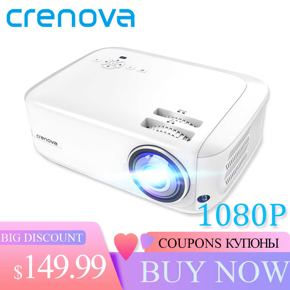CRENOVA 2019 más nuevo Full HD 1080P Android proyector 6000 lúmenes Android 7.1.2 OS proyector de Video 4K Dolby 2G 16G Beamer