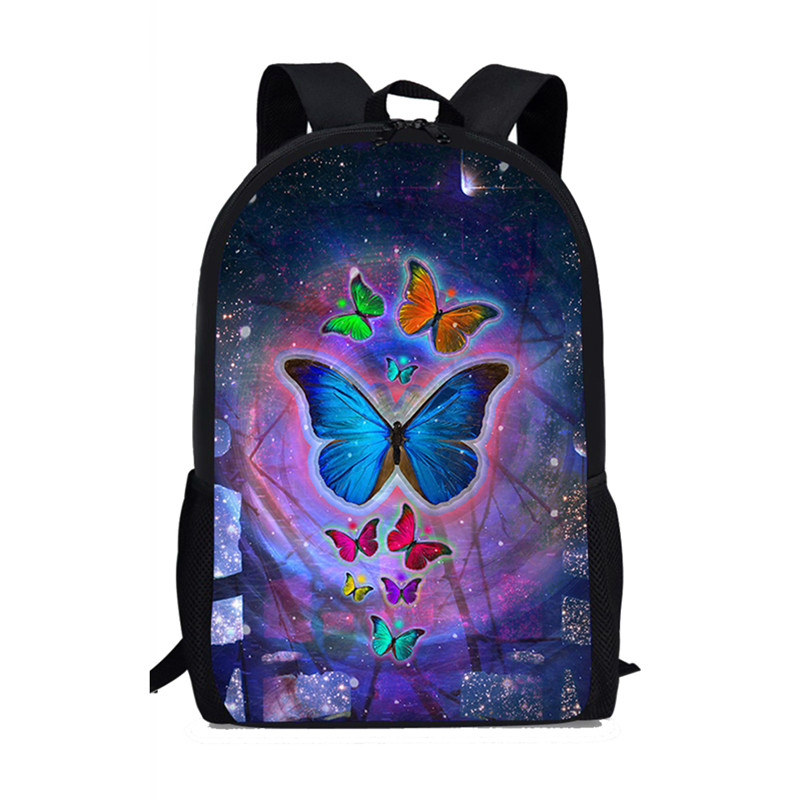 Thikin Butterfly Printing Schoolbag For Students Girls Teenagers Backpack School Supplies Package Shoulder Bags Women Mochila