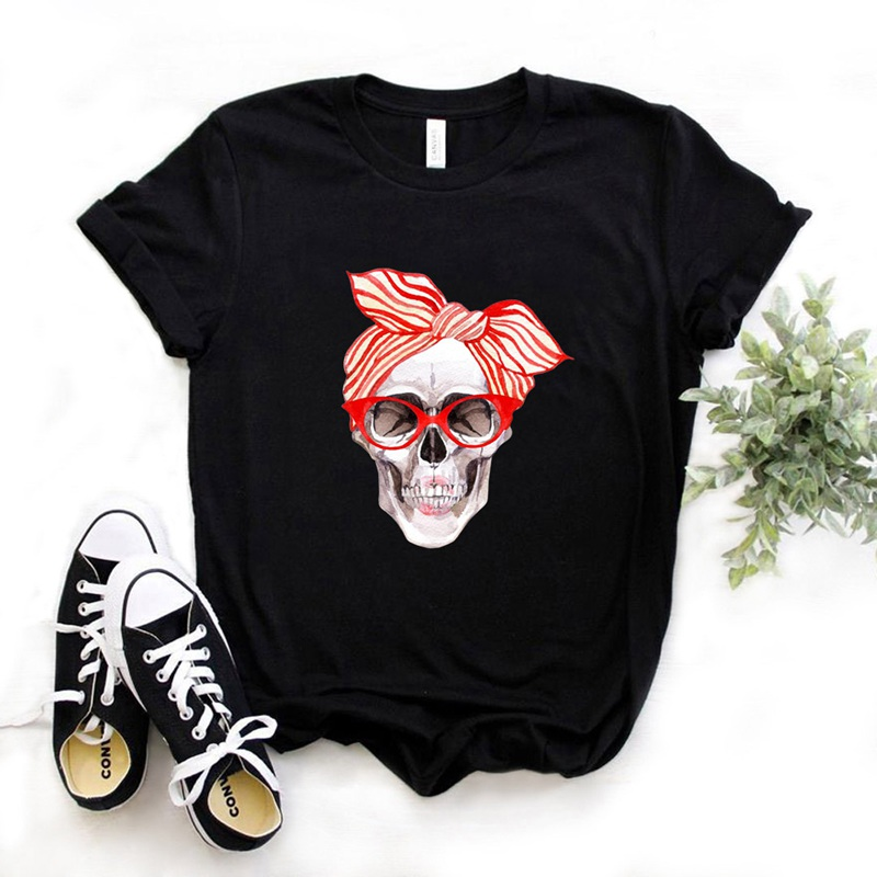 Bandana Skull Print Women Tshirt Cotton Casual Funny T Shirt Gift 90s Lady Yong Girl Drop Ship 6 Colors PM-9832