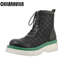 cow leather +lace women ankle boots new quality riding boots high heels lace-up round toe fashion black white autumn summer boot liren 2019 spring autumn pu new women fashion sexy ankle lace up boots round toe low flat heels women comfortable boots