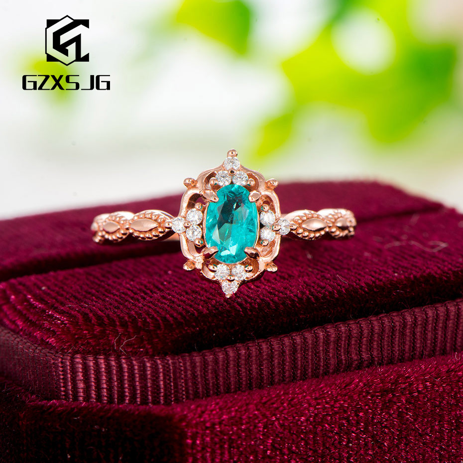 GZ 585 rose gold Plated Paraiba Tourmaline Gemstones Ring for Women genuine 925 Sterling Silver brides gift engagement Size 4 10