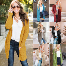 Women's Knitted Coat Long Sleeve Open-Front Cardigan Pocket Knit Cashmere Sweater Women