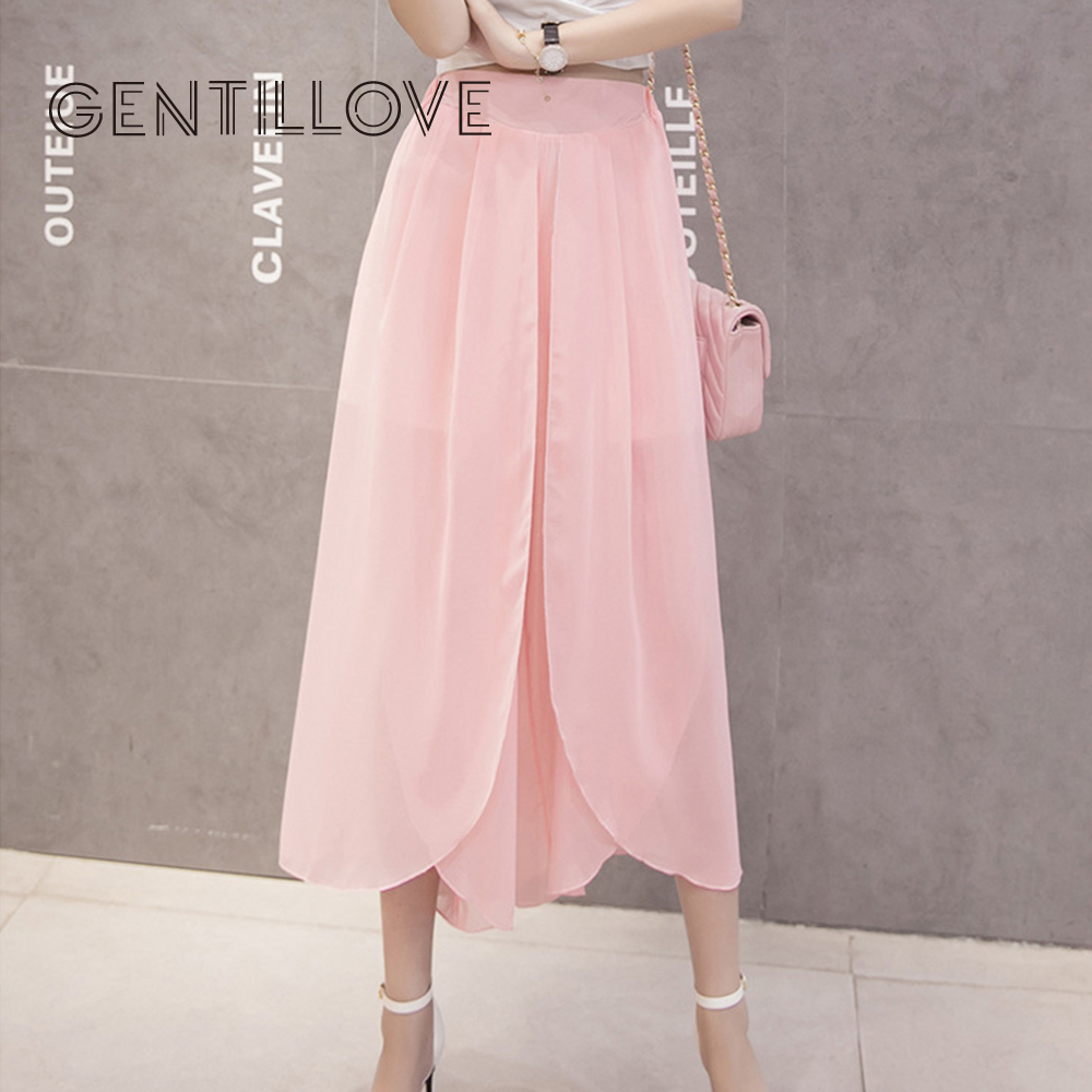 Gentillove Chiffon Harem   Pants   Women 2019 Summer Boho Loose Ankle-Length   Pants   Casual Beach Split Flared Wide Leg   Pants     Capris
