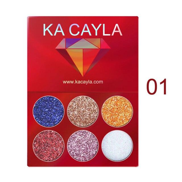6 Colors Glitter Eyeshadow Palette Diamond Glitter Metallic Pigment Waterproof Long-lasting Eye Shadow Kit Makeup Palette TSLM1 1