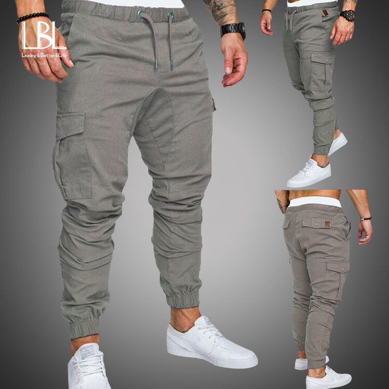 Осенние мужские штаны в стиле хип-хоп, шаровары, штаны для бега, 2020, новые мужские брюки, мужские однотонные брюки с несколькими карманами, бр...