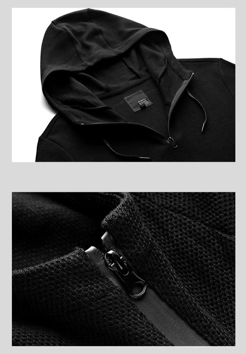 KUEGOU 2019 Осенняя хлопковая однотонная черная толстовка с капюшоном Мужская модная Толстовка в стиле хип хоп Японская уличная одежда мужские ... - 6