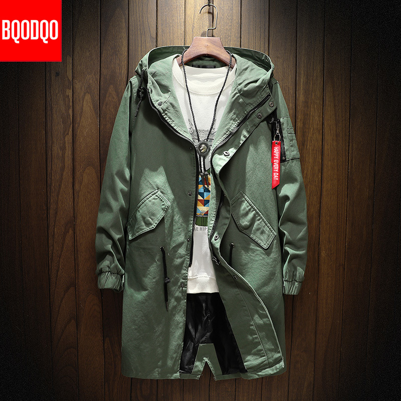 Cotton Autumn Black Hip Hop Long   Trench   Coat Men Japanese Spring Streetwear Casual Jackets Men's Hooded Army Green Windbreaker