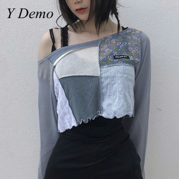 Y Demo Casual Summer T Shirt Women O Neck Color Patchwork Crop Tops Female Fashion Clothing 2020 - discount item  40% OFF Tops & Tees