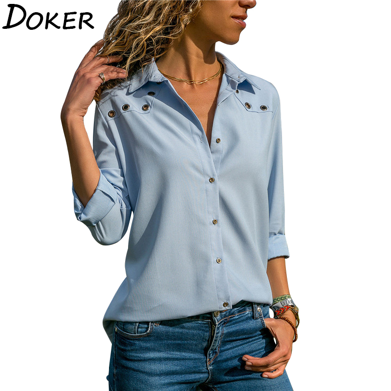 Women Blouses Spring Long Sleeve Turn-down Collar Chiffon Blouse Shirt Elegant Solid Color Blouse Office Shirts Cardigan Tops