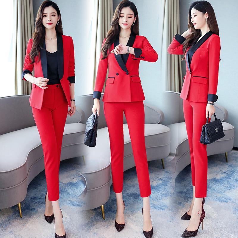 Set/Suit Skirt 2019 Autumn V-neck Long Sleeve Versatile Korean-style Simple Joint Contrast Color