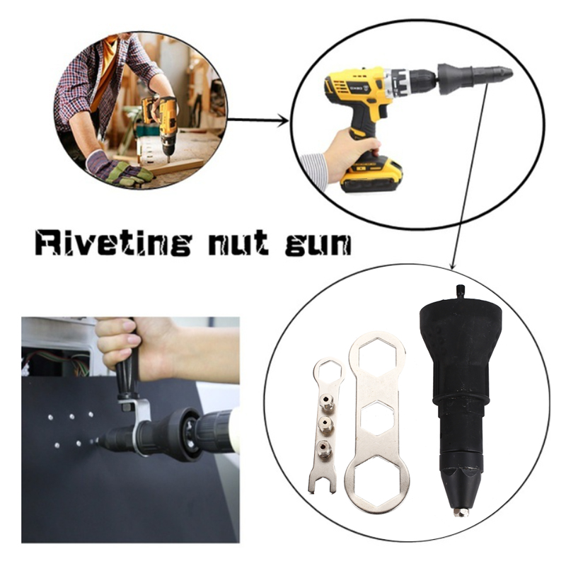 Riveting Drill Adapter Riveting Nut Riveting Tool Stainless Steel Black Practical Durable Portable Electric Screw Driver Parts