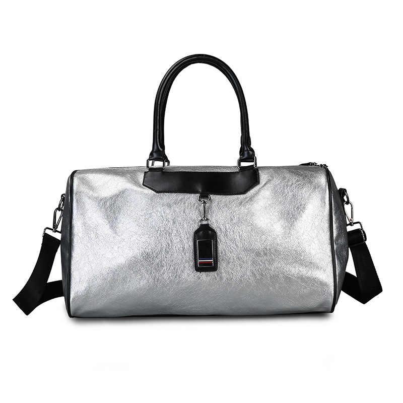 Gümüş spor çanta bayan bagaj çantası seyahat çantaları etiketi Duffel spor çanta deri kadın Yoga spor spor büyük spor çantaları kadın