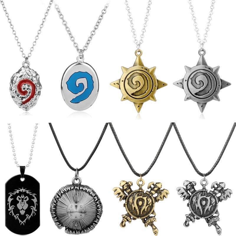 Jogo jóias wow mundo de warcraft hearthstone colares aliança tribo horda pingente de metal charme gargantilha colar para mulheres masculinas