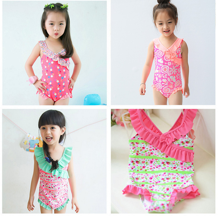 Special Offer Closeout GIRL'S CHILDREN'S Small Children KID'S Swimwear Wide-Strap Lace Bow Printed One-piece Swimwear