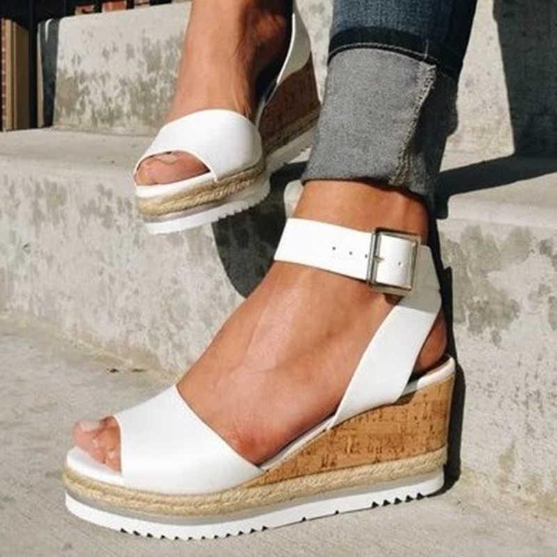 SWQZVT letnie damskie sandały na platformie 2020 nowe zabytkowe kliny buty dla kobiet odkryte palce i pięta Retro obcas letnie buty damskie sandalia