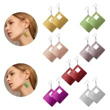 Simple Geometric Rhombus Quadrilateral Hollow Leather Earrings New Arrivals 12 Colors Womens Drop Jewelry