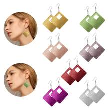 Simple Geometric Rhombus Quadrilateral Hollow Leather Earrings New Arrivals 12 Colors Women's Leather Drop Earrings Jewelry(China)