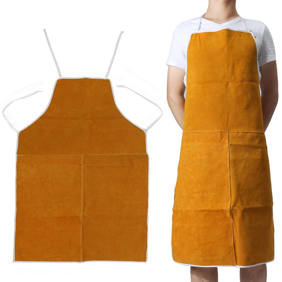 Free Shipping Cow Leather Aprons Welding Heat Insulation Protection Welders Blacksmith 93x64cm Safety Clothing