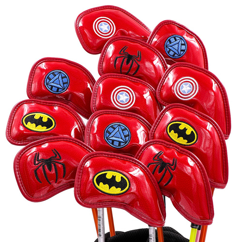 [2 Colors] Marvel Golf Leather Head Covers Irons Headcovers PU Iron Complete Set Covers #4-9PAS 50/56/60deg Mascot Novelty Gift