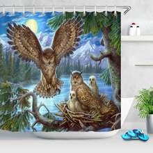 Занавеска для душа с рисунком ночной ели леса животных совы