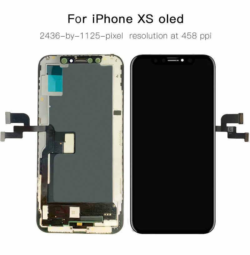 AAA + + + ل فون 5S 6 6S 7 8 زائد LCD عرض مع 3D تعمل باللمس الجمعية استبدال ل فون X XR XS ماكس OLED صحيح لهجة