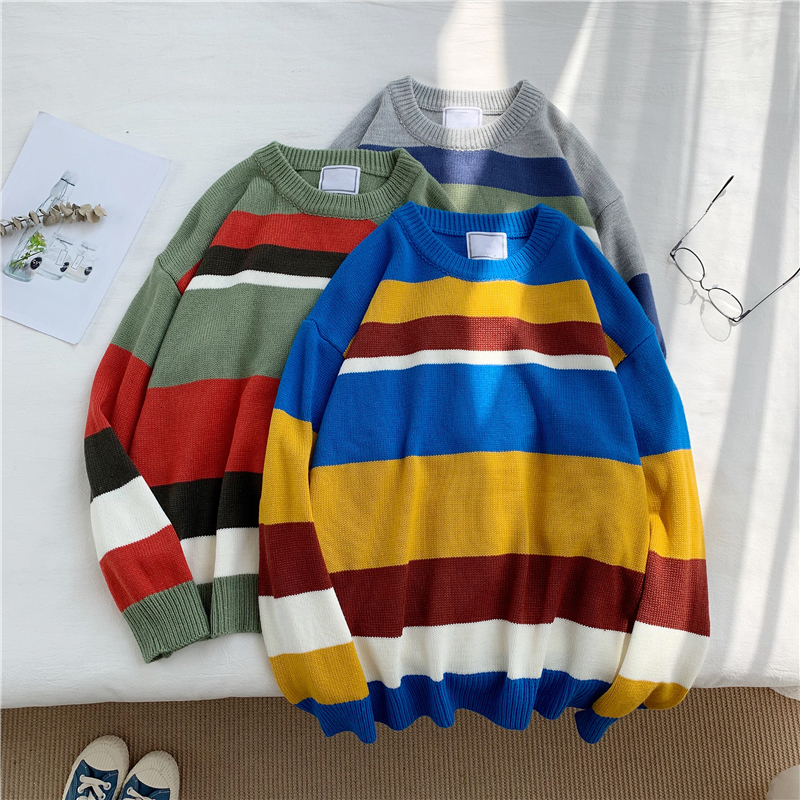 Winter Striped Sweater Men Warm Fashion Contrast Color Casual Knit Pullover Man Streetwear Wild Loose Long-sleeved Sweater Male
