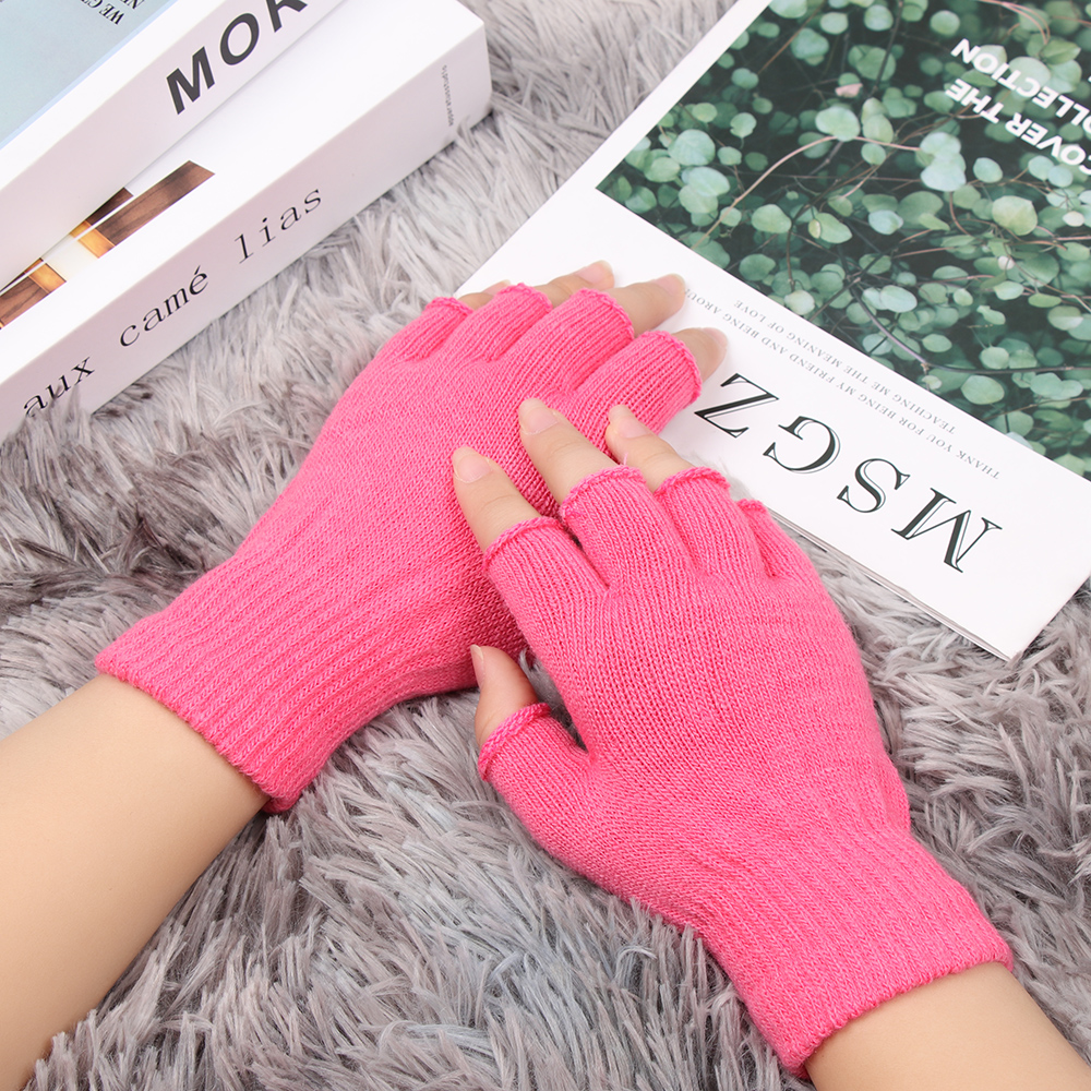 Hot 1Pair Women Men Winter Knitted Fingerless Gloves Warm Wrist Short Thick Warm Mittens Keep Finger Warm Stretch Solid Mittens