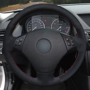 Image 2 - Coprivolante per auto cucito a mano in vera pelle scamosciata nera antiscivolo per BMW E90 E91(Touring) 320d 325i 335i X1 E84