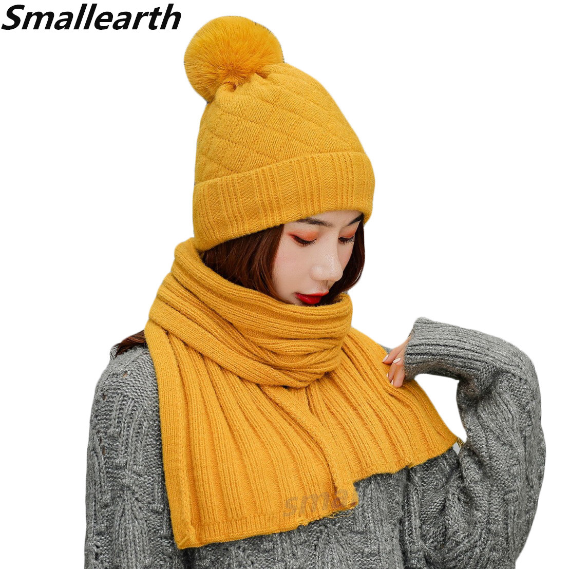 2019 Winter Women Hats Scarf Set Girl Fashion Brand Knitted Hats Scarf Two Pieces Female Plus Velvet Thick Casual Cap Scarf Sets