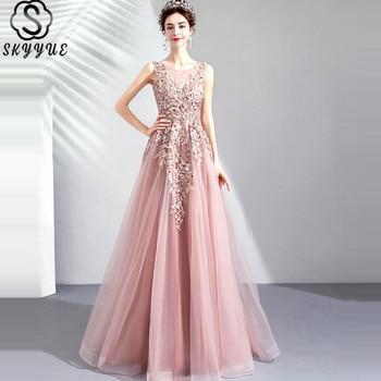 Skyyue Prom Dress O-Neck Floor-Length Sleeveless Sexy Prom Dress Embroidery Beading A-Line Tulle Vestidos De Gala E283 charming a line sweetheart sleeveless beading prom dress