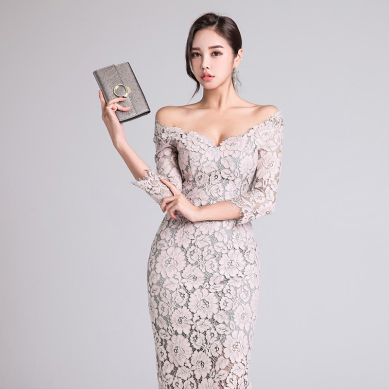 BGW 2020 Off Shoulder Cocktail Dress Three Quarter Sleeve Sexy V Neck Lace Dressed As Fiesta Thick Elegant From Gala Backless