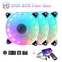 120mm Case Fan Cooler PC Cooling RGB fan cooler Adjustable PWM RGB Speed color with Remote Control Mute Computer Case fans(China)