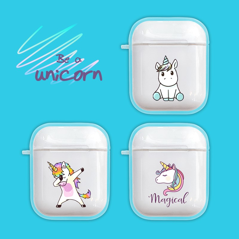 Image 2 - Cartoon Unicorn Case For Apple Airpods 1 2 Case Wireless Bluetooth Earphone Charging Headphone Clear Cute Cover For Air Pods Box-in Earphone Accessories from Consumer Electronics
