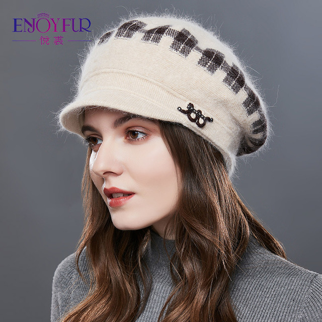 ENJOYFUR Rabbit Knitted Womens Hats Warm Thick Visors Cap For Winter High Quality Plaid Middle Aged Lady Caps Casual Hat Female