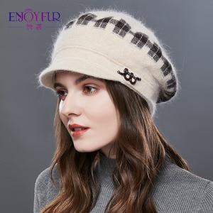 Image 1 - Enjoyfurウサギニット女性の帽子暖かい厚手バイザーキャップ冬の高品質チェック柄ミドル中年女性キャップカジュアル帽子女性