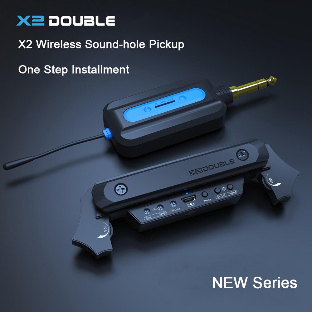 DOUBLE X2 Wireless Soundhole Pickup z odbiornikiem mikrofon 30M transmisja dla 80-120mm Sound-hole gitara akustyczna Pickup