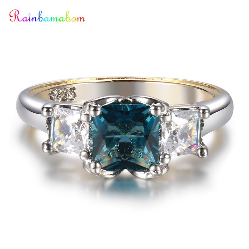 Rainbamabom Retro 925 Sterling Solid Silver Peacock Blue Sapphire Topaz Gemstone Wedding Engagement Ring Fine Jewelry Wholesale