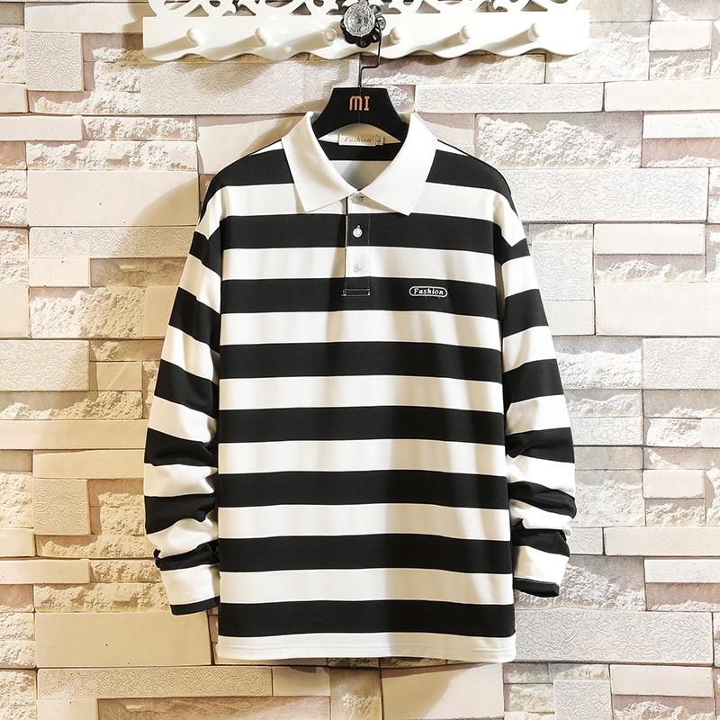 Contrast Striped   Polo   Shirt Men 100% Cotton Long Sleeve Casual Tees Homme 2019 Autumn Regular Fit Men   Polo   Shirt Plus Size