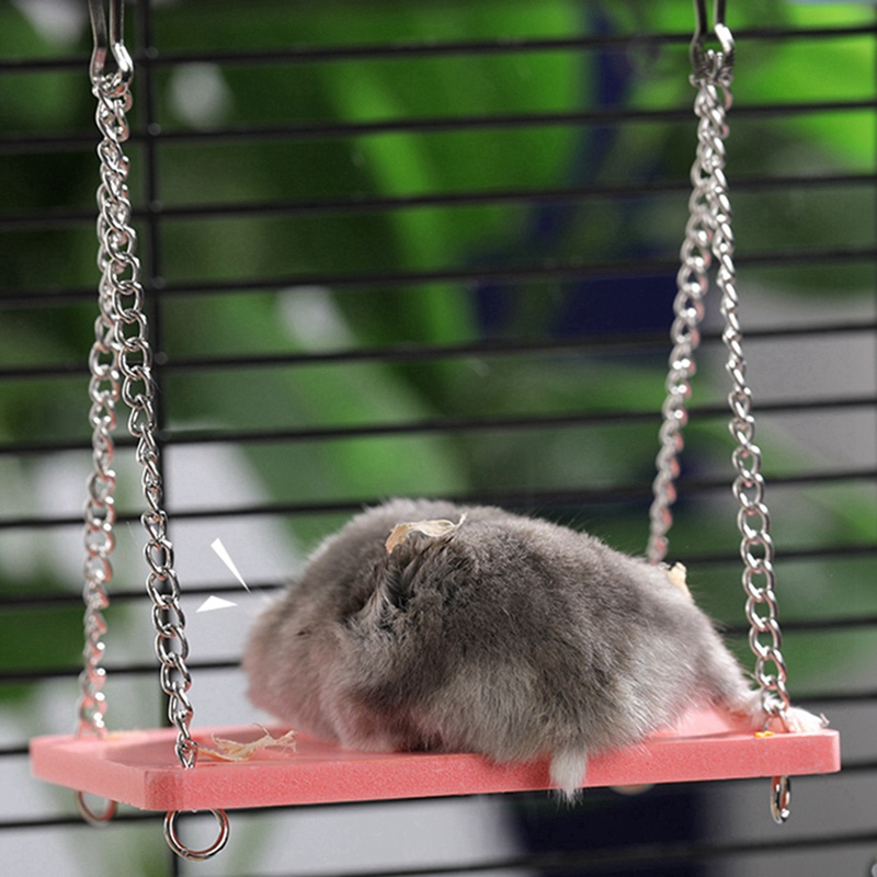 Cute Parrot Hamster Small Swing Fun Toy For Pet Hamster Mouse Gerbil Rat Small Parrot Bird Hamster Accessories Littlest Pet Toy