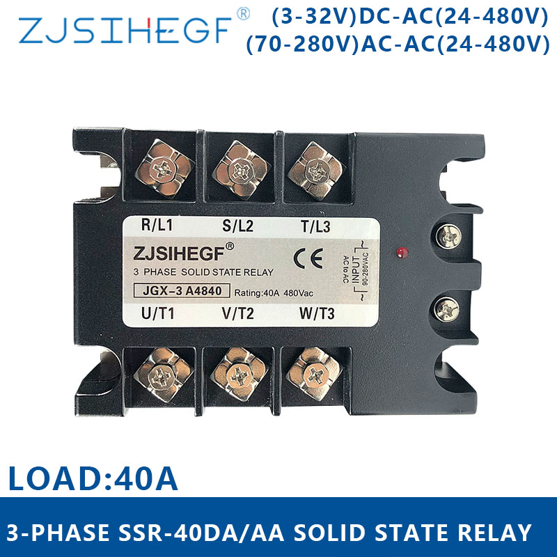AC 3 Phase Module Switch <font><b>SSR</b></font> <font><b>40</b></font> <font><b>DA</b></font>/AA 3-32VDC/70-280VAC Three phase solid state relay output24-480VAC for automation system image