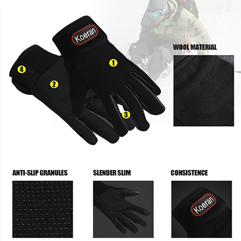Outdoor winter Men Women Windproof waterproof Warm Cycling Ski Snow ski gloves Touch Screen Full Finger Mitten Adjustable gloves in Skiing Gloves from Sports Entertainment